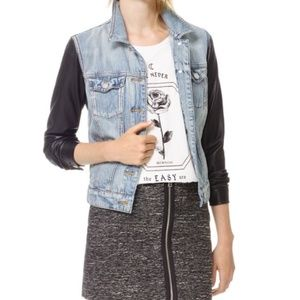 Aritzia Denim and faux leather jacket